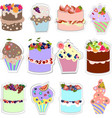 set of sweets different types of cakes vector image