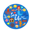 composition with sea life icons vector image