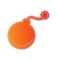 Bomb sign  Orange applique isolated vector image