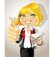 Pretty business woman with business papers showing vector image