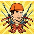 Male Builder work and electric drill vector image