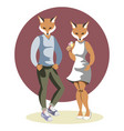 couple anthropomorphic foxes vector image