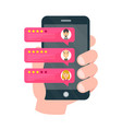 rate our app flat concept hand holds vector image