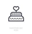 wedding cake dessert with heart icon vector image