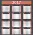 Calendar 2017 week starts on Sunday orange tone vector image vector image