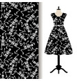 dress fabric pattern with dancing skeletons vector image