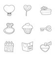 saint valentine day icons set outline style vector image