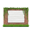 Wooden sign brick wall grass and ivy vector image