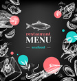 Restaurant chalkboard menu Hand drawn sketch sea vector image