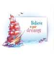 banner with sail ship in ocean vector image