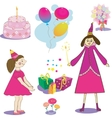 Set of birthday object of gifts cake and baloons vector image