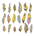 Set of hand drawn feathers doodles design elements vector image