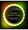 Glowing neon round frame with light bulbs vector image
