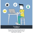 Cartoon man and freelance design vector image