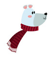 christmas bear with scarf celebration vector image