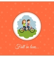 Couple rides a bicycle vector image