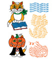 learned cat and pumpkin vector image