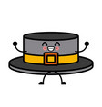 ribbon men hat kawaii cartoon vector image