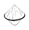 Chinese conical straw hat isolated on white vector image