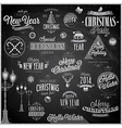 christmas emblems2 chalk vector image vector image