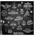christmas emblems2 chalk vector image