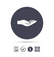 donation hand sign icon charity or endowment vector image