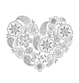 Monochrome heart shape with mehendi flowers and vector image
