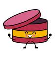 round box ribbon kawaii cartoon vector image