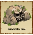 Scary underwater cave with the skull and grass vector image