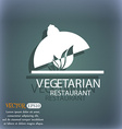 vegetarian restaurant icon On the blue-green vector image