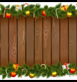 Christmas Border with Lollipop on Wooden Board vector image