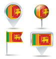 Map pins with flag of Sri Lanka vector image