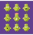 Cartoon Cactus Emoji Set vector image vector image