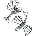 Two flying fish vector image
