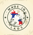Stamp with map flag of Laos vector image