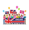 England Happy crowd of people with placards at vector image