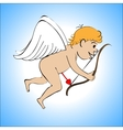 Cupid color on a blue background vector image