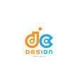dc d c orange blue alphabet letter logo vector image