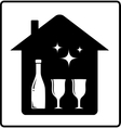 home with bottle and glass vector image