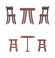 wooden chairs and round tables isolated on white vector image
