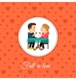 Couple sit at the table vector image
