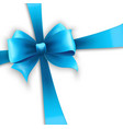 Invitation card with blue holiday ribbon and bow vector image
