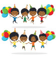 jumping african-american boys and boys carrying vector image