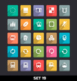 Trendy Icons With Long Shadow Set 19 vector image