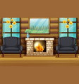 room with black armchairs and fireplace vector image vector image