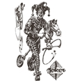cheerful joker logo design template circus vector image