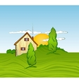 House with trees vector image