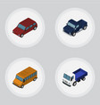 isometric automobile set of lorry autobus car vector image
