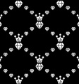 Seamless pattern with diamonds and crown vector image