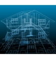 House technical draw blue background vector image